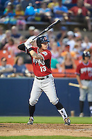 Carolina Mudcats third baseman Jordan Edgerton (13) at bat during a game against the Frederick Keys on June 4, 2016 at Nymeo Field at Harry Grove Stadium in Frederick, Maryland.  Frederick defeated Carolina 5-4 in eleven innings.  (Mike Janes/Four Seam Images)