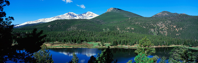 A summer scenic of Mt Meeker, Longs Peak, and Estes Cone from Lily Lake in Rocky Mountain National Park, Colorado.