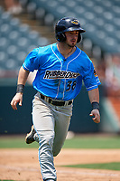 Akron RubberDucks Tyler Friis (38) during an Eastern League game against the Bowie Baysox on May 30, 2019 at Prince George's Stadium in Bowie, Maryland.  Akron defeated Bowie 9-5.  (Mike Janes/Four Seam Images)