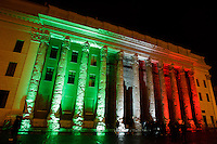 Una veduta del Tempio di Adriano illuminato con riflettori tricolori, in Piazza di Pietra, a Roma, 16 ottobre 2011, in occasione della Notte Tricolore per la celebrazione del 150esimo anniversario dell'Unita' d'Italia..A view of the Hadrian Temple lit up with tricolour lights in Piazza di Pietra square,  Rome, 16 march 2011, in occasion of the Tricolour Night marking the 150th anniversary of the Italian Union..UPDATE IMAGES PRESS/Riccardo De Luca