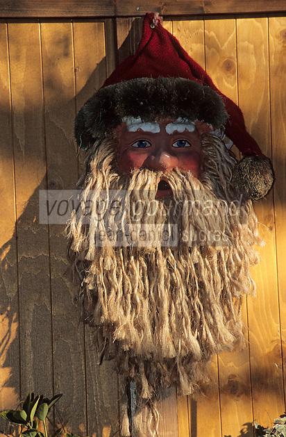 Europe/France/Alsace/68/Haut-Rhin/Colmar: Noël à Colmar - Marché de Noël sur la place de l'ancienne douane ou Koïfhus - Détail d'une tête de père-noël