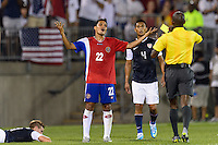 Costa Rica forward Jairo Arrieta Ovando (22) gets a yellow card. The United States defeated Costa Rica 1-0 during a CONCACAF Gold Cup group B match at Rentschler Field in East Hartford, CT, on July 16, 2013.
