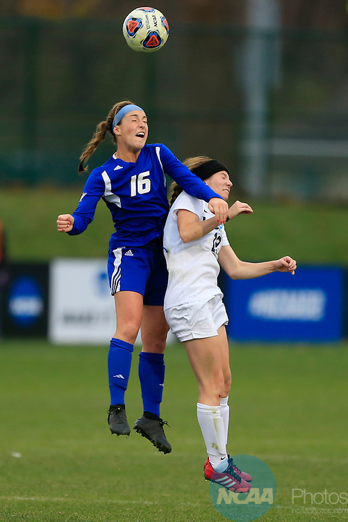 KANSAS CITY, MO - DECEMBER 03:  Caitlyn Jobanek (12) of Western Washington University and Dani Johnson (16) of Grand Valley State University battle for the ball during the Division II Women's Soccer Championship held at Children's Mercy Victory Field at Swope Soccer Village on December 03, 2016 in Kansas City, Missouri. Western Washington University beat Grand Valley State University 3-2 to win the national title.  (Photo by Jack Dempsey/NCAA Photos via Getty Images)