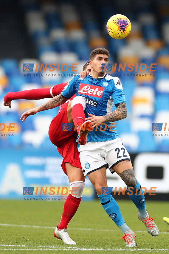 Diego Falcinelli of Perugia and Eljif Elmas of Napoli compete for the ball<br /> Napoli 14-01-2020 Stadio San Paolo <br /> Football Italy Cup 2019/2020 SSC Napoli - AC Perugia<br /> Photo Cesare Purini / Insidefoto