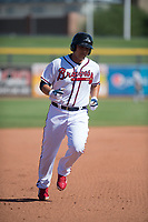 Peoria Javelinas designated hitter Alex Jackson (22), of the Atlanta Braves organization, rounds the bases after hitting a home run during a game against the Scottsdale Scorpions on October 19, 2017 at Peoria Stadium in Peoria, Arizona. The Scorpions defeated the Javelinas 13-7.  (Zachary Lucy/Four Seam Images)