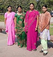 Agra, India.  Indian Women Tourists Visiting the Taj Mahal.