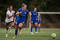 Seattle, Washington -  Sunday, September 11 2016: Seattle Reign FC forward Manon Melis (14) drives down the field towards goal during a regular season National Women's Soccer League (NWSL) match between the Seattle Reign FC and the Washington Spirit at Memorial Stadium. Seattle won 2-0.