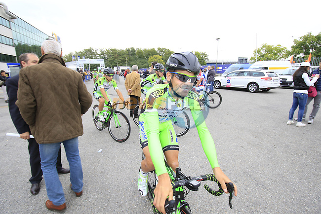 Edoardo Zardini (ITA) Bardiani CSF heads to sign on for the start of the 2015 96th Milan-Turin 186km race starting at San Giuliano Milanese, Italy. 1st October 2015.<br /> Picture: Eoin Clarke | Newsfile