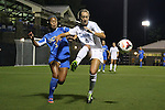 06 September 2013: North Carolina's Summer Green (6) and UCLA's Caprice Dydasco (3). The University of North Carolina Tar Heels played the University of California Los Angeles Bruins at Koskinen Stadium in Durham, NC in a 2013 NCAA Division I Women's Soccer match. UNC won the game 1-0.