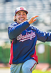 21 April 2013: Washington Nationals third baseman Anthony Rendon stretches out prior to a game against the New York Mets at Citi Field in Flushing, NY. Rendon was called up to replace Ryan Zimmerman, who was placed on the 15-day DL. Rendon makes his Major League debut with his start at third. The Mets shut out the visiting Nationals 2-0, taking the rubber match of their 3-game weekend series. Mandatory Credit: Ed Wolfstein Photo *** RAW (NEF) Image File Available ***