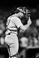 Rich Gedman of the Boston Red Sox during a 1988 season game at Anaheim Stadium,in Anaheim,California.(Larry Goren/Four Seam Images)