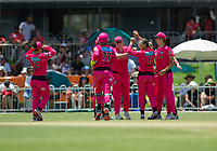 24th November 2019; Lilac Hill Park, Perth, Western Australia, Australia; Womens Big Bash League Cricket, Perth Scorchers versus Sydney Sixers; Sydney Sixers players celebrate the wicket of Amy Jones - Editorial Use