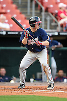 Gwinnett Braves outfielder Todd Cunningham (20) looks to bunt during a game against the Buffalo Bisons on May 13, 2014 at Coca-Cola Field in Buffalo, New  York.  Gwinnett defeated Buffalo 3-2.  (Mike Janes/Four Seam Images)
