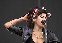 Amy Winehouse on the main stage at T in the Park.....