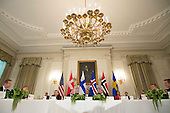 United States President Barack Obama holds a multilateral meeting with leaders of Nordic region countries, in the State Dinning Room at the White House in Washington, D.C. on May 13, 2016. President Obama met with Denmark Prime Minister Lars Lokke Rasmussen, Iceland Prime Minister Sigurdur Ingi Johannsson, Norway Prime Minister Erna Solberg, Sweden Prime Minister Stefan Lofven and Finland President Sauli Niinisto to discuss economic, environmental and security concerns in the Nordic region. <br /> Credit: Kevin Dietsch / Pool via CNP