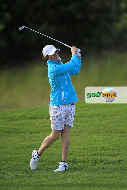 Leona Maguire on the 12th during the Saturday Afternoon Fourballs of the 2016 Curtis Cup at Dun Laoghaire Golf Club on Saturday 11th June 2016.<br /> Picture:  Golffile | Thos Caffrey