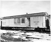 D&amp;RGW engine men car X54 with archbar trucks.  Car used with rotary OY.<br /> D&amp;RGW  Chama, NM  Taken by Payne, Andy M. - 1/31/1971