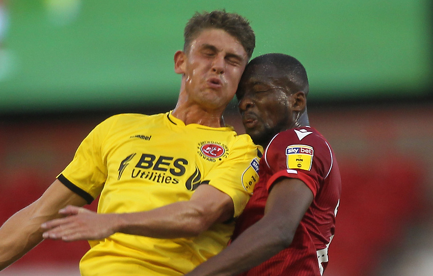 Fleetwood Town's Harrison Biggins clashes wth Nottingham Forest's Samba Sow<br /> <br /> Photographer Mick Walker/CameraSport<br /> <br /> The Carabao Cup First Round - Nottingham Forest v Fleetwood Town - Tuesday 13th August 2019 - The City Ground - Nottingham<br />  <br /> World Copyright © 2019 CameraSport. All rights reserved. 43 Linden Ave. Countesthorpe. Leicester. England. LE8 5PG - Tel: +44 (0) 116 277 4147 - admin@camerasport.com - www.camerasport.com