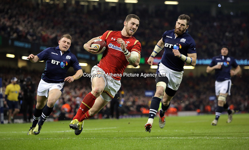 George North of Wales (C) on his final run before scoring a try during the RBS 6 Nations Championship rugby game between Wales and Scotland at the Principality Stadium, Cardiff, Wales, UK Saturday 13 February 2016