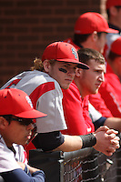 Stony Brook Seawolves outfielder Travis Jankowski #6 in the dugout  during a game against the East Carolina University Pirates at Clark-LeClair Stadium  on March 4, 2012 in Greenville, NC.  East Carolina defeated Stony Brook 4-3. (Robert Gurganus/Four Seam Images)