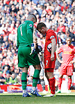 Fraser Forster of Southampton talks to James Milner of Liverpool as he places the ball to take a penalty during the English Premier League match at Anfield Stadium, Liverpool. Picture date: May 7th 2017. Pic credit should read: Simon Bellis/Sportimage