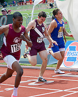A close battle for second place in the Class 3 Boys 400 meter dash final leaves Cardinal Ritter senior James Williams (1187) in second in 49.81, Osage's Robbie Mueller (1418) fourth in 50.30, and Ava's Kyle Clingkingbeard 5th in 50.39.