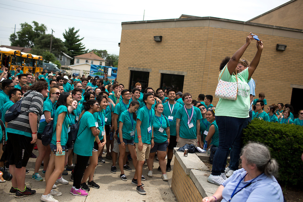 "Members take a selfie with a community organizer during ""Circle the City with Service,"" the Kiwanis Circle K International's 2015 Large Scale Service Project, on Wednesday, June 24, 2015, in Indianapolis. (Photo by James Brosher)"