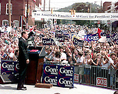Carthage, TN - June 16, 1999 -- United States Vice President Al Gore waves to supporters after announcing his candidacy for the 2000 Democratic nomination for President of the United States from the courthouse in Carthage, Tennessee on Wednesday, June 16, 1999..Credit: Ron Sachs / CNP