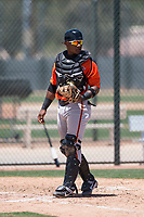 San Francisco Giants Orange catcher Andres Angulo (7) during an Extended Spring Training game against the Oakland Athletics at the Lew Wolff Training Complex on May 29, 2018 in Mesa, Arizona. (Zachary Lucy/Four Seam Images)