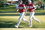 SUGAR GROVE, IL - MAY 31: Blaine Hale and Quade Cummins of the University of Oklahoma celebrate their victory during the Division I Men's Golf Team Championship held at Rich Harvest Farms on May 31, 2017 in Sugar Grove, Illinois. Oklahoma won the team national title. (Photo by Jamie Schwaberow/NCAA Photos via Getty Images)