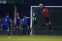 Rhys Hughes of Romford makes a save during Romford vs Basildon United, Bostik League Division 1 North Football at Rookery Hill on 24th November 2018