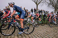 The Peloton coming through the Paddestraat during the 16th Ronde Van Vlaanderen. Marta Bastianelli, Katarzyna Pawlowska, Lotta Lepisto <br /> <br /> Elite Womans Race (1.WWT)<br /> <br /> One day race from Oudenaarde to Oudenaarde<br /> ©Jojo Harper for Kramon