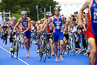 04 JUL 2010 - ATHLONE, IRL - Oliver Freeman (GBR) (second from right) races out of transition during the European Elite Mens Triathlon Championships (PHOTO (C) NIGEL FARROW)