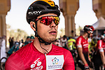 Red Jersey Phil Bauhaus (GER) Bahrain-McLaren ready to start Stage 5 of the Saudi Tour 2020 running 144km from Princess Nourah University to Al Masmak, Saudi Arabia. 8th February 2020. <br /> Picture: ASO/Kåre Dehlie Thorstad   Cyclefile<br /> All photos usage must carry mandatory copyright credit (© Cyclefile   ASO/Kåre Dehlie Thorstad)