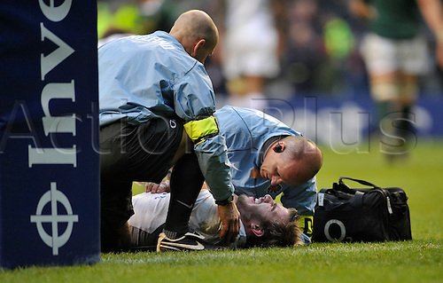 27.11.2010.Tom Croft of England receives medical attention. International Rugby England vs South Africa at Twickenham Stadium, England.