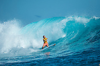 Namotu Island, Fiji (Tuesday, June 2, 2015) Carissa Moore (HAW) - Action continued today at the fifth stop on the 2015 WSL Championship Tour (CT), the Fiji Women&rsquo;s Pro, with a day of high drama and high scores. The world&rsquo;s best female surfers posted four nine-point rides as competition ran through Rounds 2 and 3 in solid surf at Cloudbreak. <br />  <br /> Rookie Tatiana Weston-Webb (HAW) was the standout of the day, claiming both the highest heat total and single-wave score, while defending event winner Sally Fitzgibbons (AUS) suffered a perforated eardrum in the heavy conditions but still made it through to the Quarterfinals.<br />  <br /> Weston-Webb (HAW) had an impressive run of form, looking confident and at ease on her forehand in the sizable surf. She started with a convincing victory over Sage Erickson (USA) in Round 2, pulling into the wave of the day for a long, deep tube and earning a near-perfect 9.73 (out of a possible 10). The young Hawaiian went on to face Jeep Leaderboard No. 1 and two-time World Champion Carissa Moore (HAW) and Coco Ho (HAW) in Round 3 where another nine-point ride saw her take the top spot and a place in the Quarterfinals, sending her opponents to Round 4.<br /> <br /> The surf was in the 4'-6' range with light winds for most of the morning. A light onshore came up early afternoon and the swell became inconsistent.   Photo: joliphotos.com