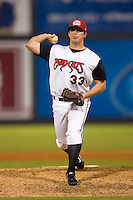 Greg Atencio #33 of the Carolina Mudcats in action versus the Birmingham Barons at Five County Stadium August 15, 2009 in Zebulon, North Carolina. (Photo by Brian Westerholt / Four Seam Images)