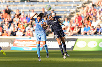 Bridgeview, IL, USA - Sunday, May 29, 2016: Chicago Red Stars defender Samantha Johnson (16) and Sky Blue FC forward Kim DeCesare (12) during a regular season National Women's Soccer League match between the Chicago Red Stars and Sky Blue FC at Toyota Park. The game ended in a 1-1 tie.
