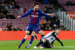 Lionel Messi of FC Barcelona (L) fights for the ball with Luciano Vietto of Valencia CF (R) during the Copa Del Rey 2017-18 match between FC Barcelona and Valencia CF at Camp Nou Stadium on 01 February 2018 in Barcelona, Spain. Photo by Vicens Gimenez / Power Sport Images