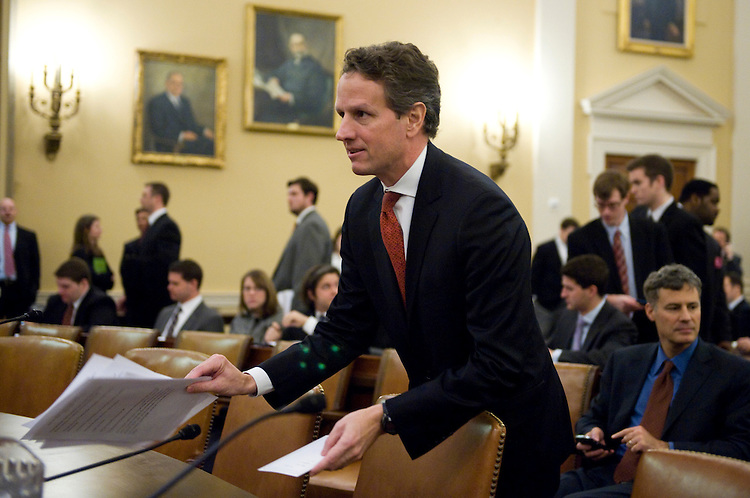 Secretary of the Treasury Tim Geithner prepares for a House Ways and Means Committee hearing on the FY 2011 budget, Feb. 3, 2010.