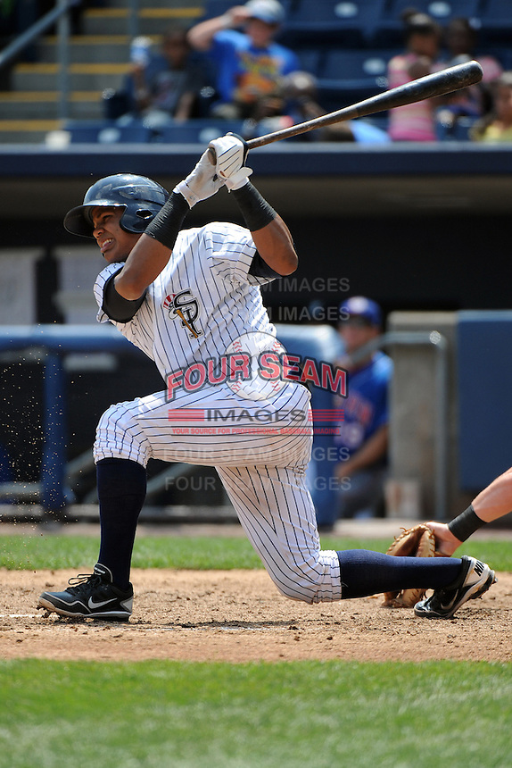 Staten Island Yankees catcher Isaias Tejeda (29) during game against the Auburn Doubledays at Richmond County Bank Ballpark at St.George on August 2, 2012 in Staten Island, NY.  Auburn defeated Staten Island 11-3.  Tomasso DeRosa/Four Seam Images