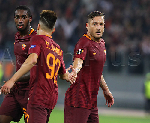 20.10.2016. Stadio Olimpico, Rome, Italy. Uefa Europa League, AS Roma versus Austria Vienna. Goal celebration by Roma's Players