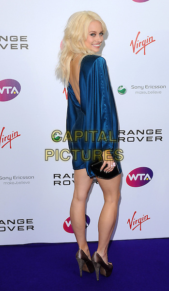 Kimberly Wyatt.The WTA Tour Pre-Wimbledon Party, The Roof Gardens, Kensington, London, England..16th June 2011.full length peep toe platform grey gray shoes black blue teal long sleeve dress silk satin clutch bag back over shoulder rear behind smiling looking.CAP/BEL.©Tom Belcher/Capital Pictures.