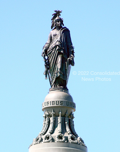 The Statue of Freedom stands on a pedestal at the top of the dome of the United States Capitol on Tuesday, March 27, 2012.  It is bronze and stands 19.5 feet (6 meters) in height and weighs approximately 15,000 pounds (6,800 kg).  At its crest it stands 288 feet (88 meters) above the East Front Plaza of tU.S. Supreme Court Building..Credit: Ron Sachs / CNP