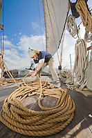 Deck Hand on the Historic Tall Ship, A.J. Meerwald, sailing on the Delaware Bay, Cumberland County, New Jersey