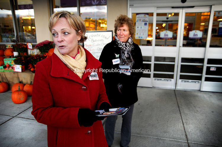TORTINGTON, CT, 25 OCT 13- 102513AJ01-Elinor Carbone, Republican mayoral candidate campaigns outside Stop & Shop in Torrington Friday with Anne Ruwet, who is running for City Council.   Alec Johnson/ Republican-American