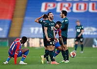 29th June 2020; Selhurst Park, London, England; English Premier League Football, Crystal Palace versus Burnley Football Club; Phillip Bardsley of Burnley screams in anger after Referee Simon Hooper awards Crystal Palace a free kick after fouling Wilfried Zaha of Crystal Palace