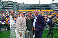 Three great guards: former Green Bay Packer Fuzzy Thurston, former NBA All-Star player John Stockton and former Packer Jerry Kramer pose for a photo during the September 9, 2001 home opener against the Detroit Lions. Part of the Packers' commitment to the fans involves bringing back past Packers for an alumni appreciation day.