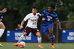 05 September 2015: Iona's Daniel Huerta (ESP) (15) and Duke's Carter Manley (2). The Duke University Blue Devils hosted the Iona University Gaels at Koskinen Stadium in Durham, NC in a 2015 NCAA Division I Men's Soccer match. Duke won the game 2-1.