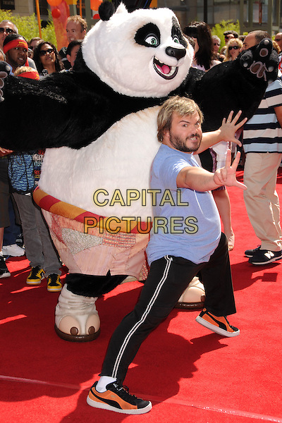 "JACK BLACK.""Kung Fu Panda"" Los Angeles Premiere at Grauman's Chinese Theatre, Hollywood, California, USA..June 1st, 2008.full length blue beard facial hair t-shirt funny trousers tracksuit dress-up costume hands palms posing.CAP/ADM/BP.©Byron Purvis/AdMedia/Capital Pictures."